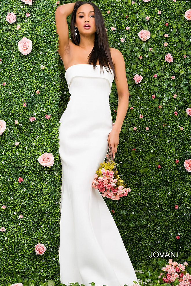 jovani Ivory Strapless Mermaid Fitted Prom Dress 51590