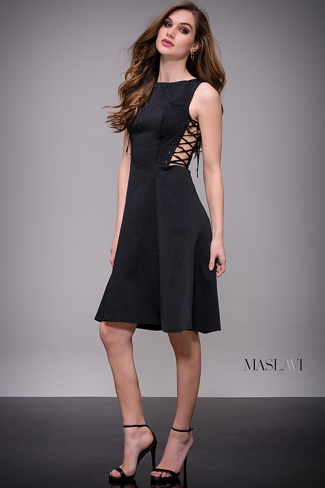 jovani Black Fit and Flare Knee Length on Trend Dress by Jovani M506