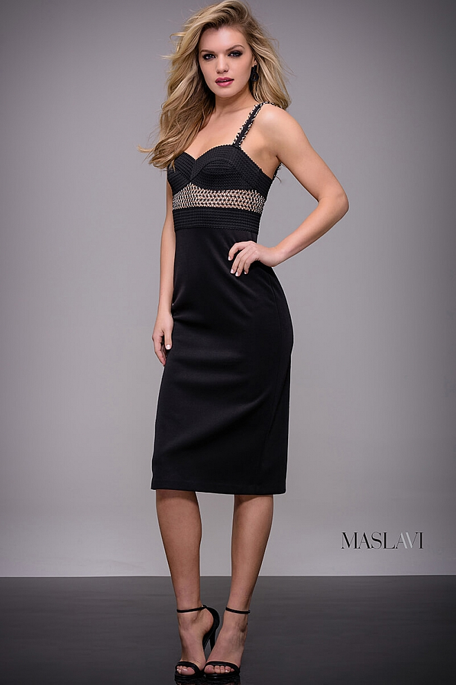 jovani Black Fitted Knee Length Contemporary Dress by Jovani M536