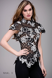 jovani Black and Ivory Embroidered Lace Cap Sleeve Top By  Jovani M54861