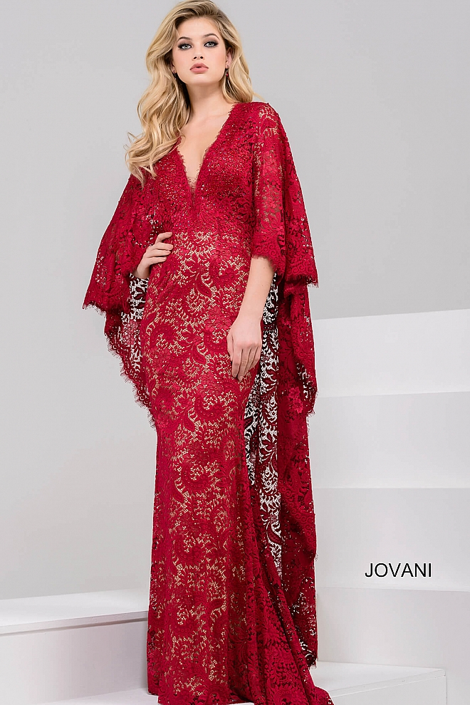 jovani Red V Neck Three Quarter Sleeve Lace Dress 47202