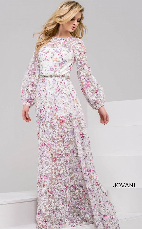 White Multi Long Sleeve High Neck Floral Dress 48387