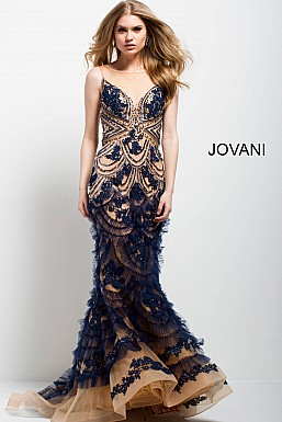 jovani Jovani 41592 Navy and Nude Embroidered Mermaid Evening Gown