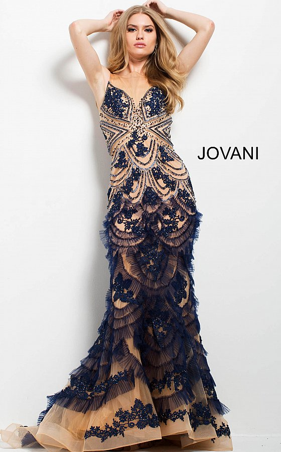 Jovani 41592 Navy and Nude Embroidered Mermaid Evening Gown