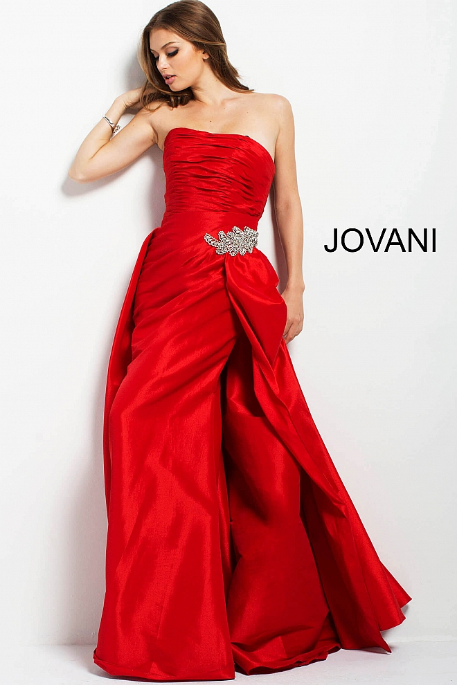 jovani Red Ruched Bodice Fitted Prom Dress 45079