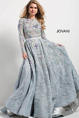 jovani Jovani 54550 Multi Floral Embroidered Lace Long Sleeve Evening Gown