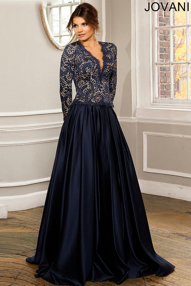 Satin A-Line Gown 26358