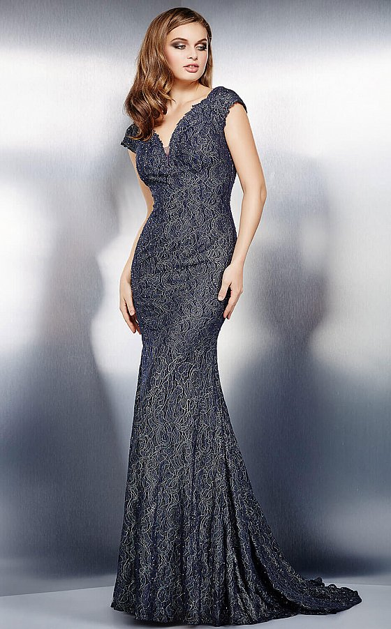 Jovani 26846 Grey Lace Mother of the Bride Dress
