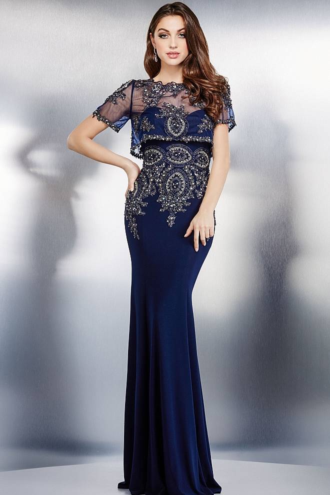 Navy Sheer Top Beaded Dress 31379