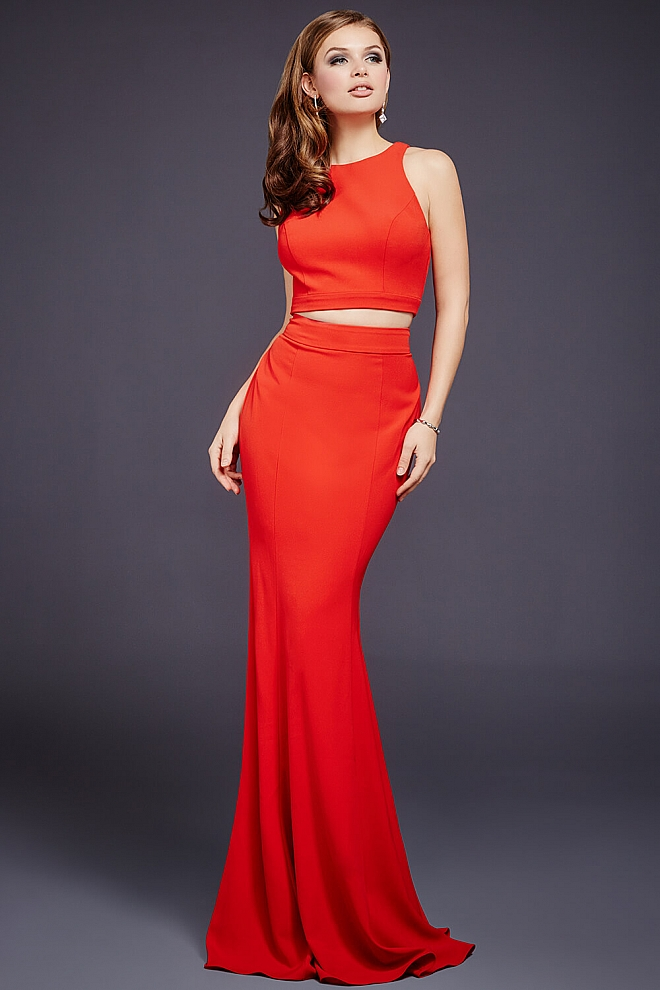 Red Two-Piece Fitted Dress 36258