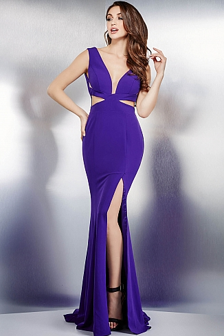 Purple Fitted High Slit Dress 36630