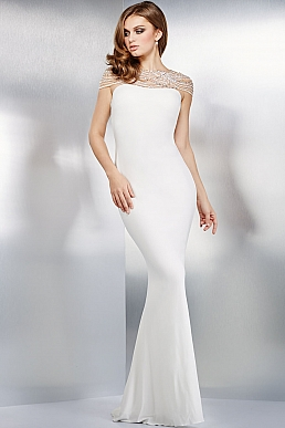 Sexy White Fitted Jersey Dress 99337