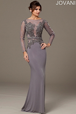 Silver Fitted Long Dress 99482