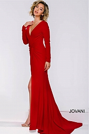 jovani Red Long Sleeve Ruched Dress 36227