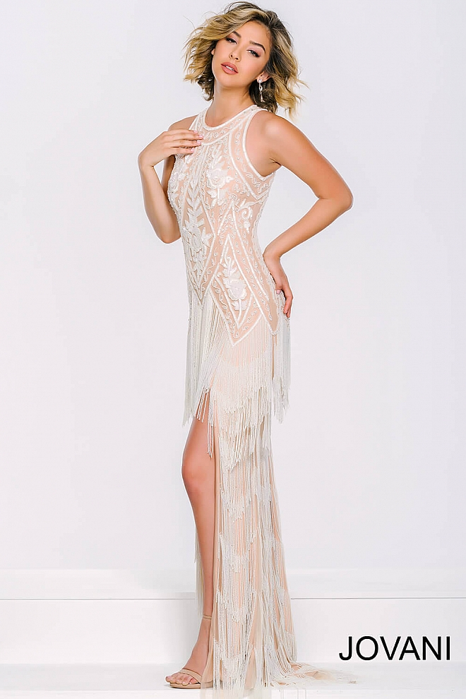 jovani Ivory/Nude Fringed High-Low Long Dress 37698