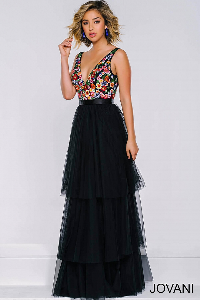 Black V-Neckline Tiered Tulle Dress 41951