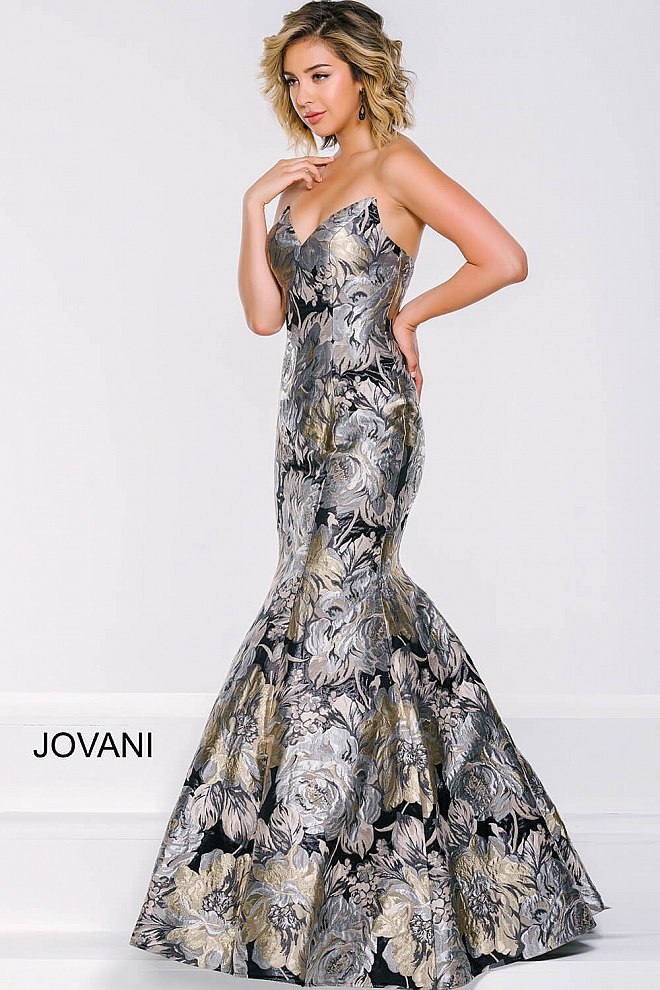 jovani Multicolored Print Strapless Mermaid Dress 42866