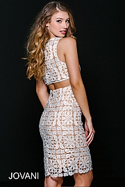 Ivory/Nude Open Back Fitted Dress 36619
