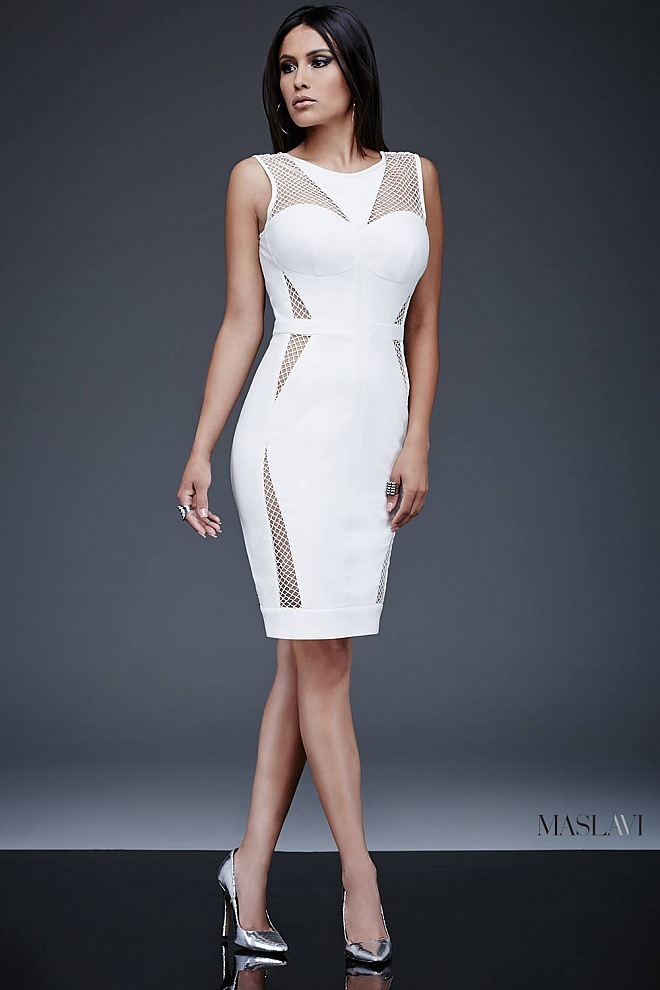 Off White Fitted Contemporary Dress M362 by Maslavi