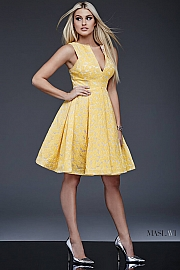 Yellow Fit and Flare Contemporary Dress M394 by Maslavi