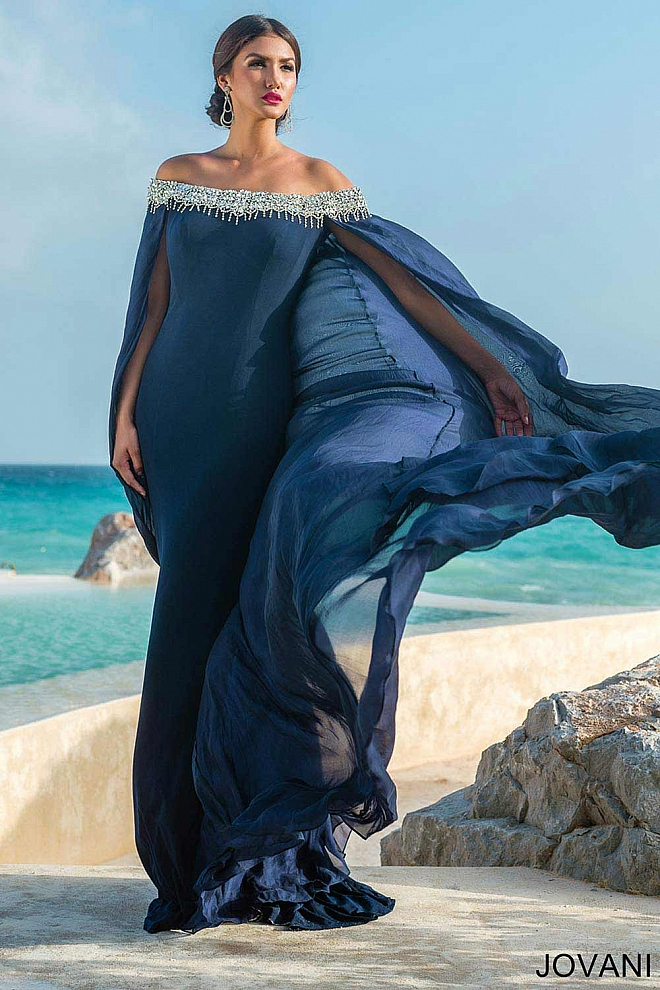Off the Shoulder Cape Gown 22209
