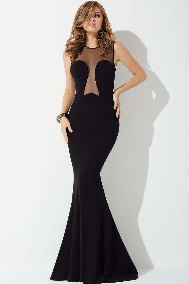 jovani Black Fitted Long Jersey Dress with sheer Neckline Dress 24277