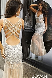 Silver and Nude Sheath Prom Dress 90736