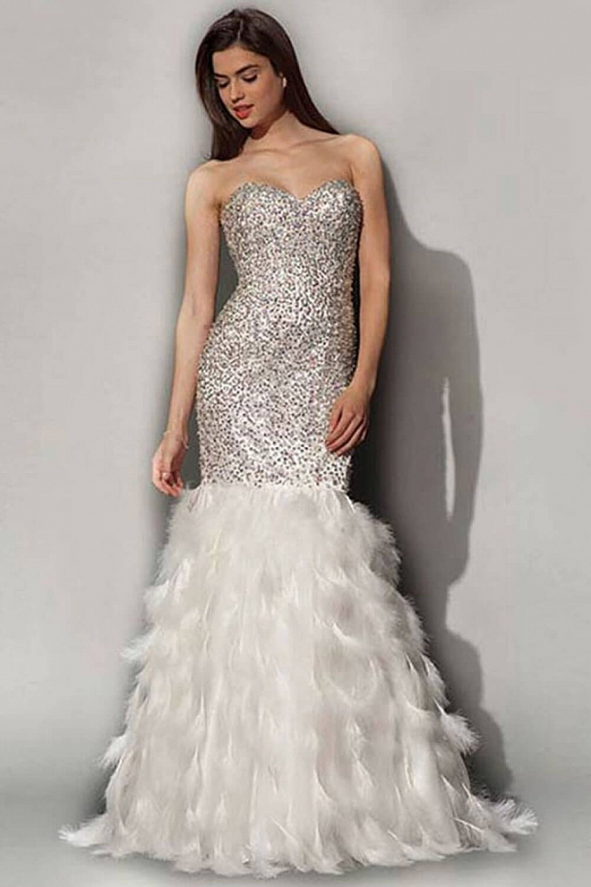 Strapless mermaid floor length dress with a feather skirt ...