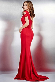 Red Fitted High Slit Dress 36628