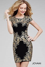 Fitted Cap Sleeve Black Dress 26798