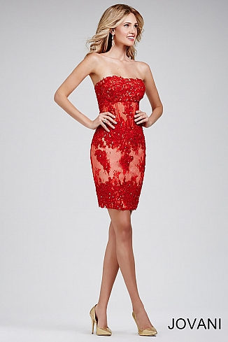 Red Lace Strapless Dress 32712