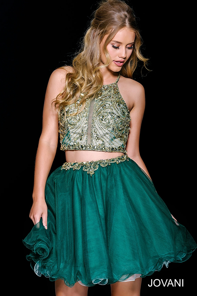 Green Open Back Fit and Flare Homecoming Dress 47449