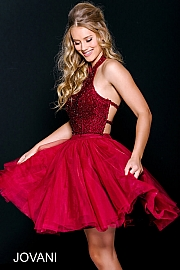 Burgundy Beaded Fit and Flare Homecoming Dress 47510