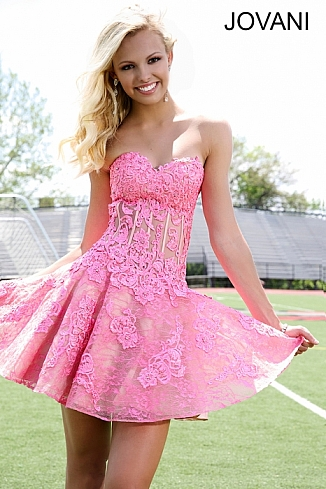 Pink Fit and Flare Lace Short Dress  91270