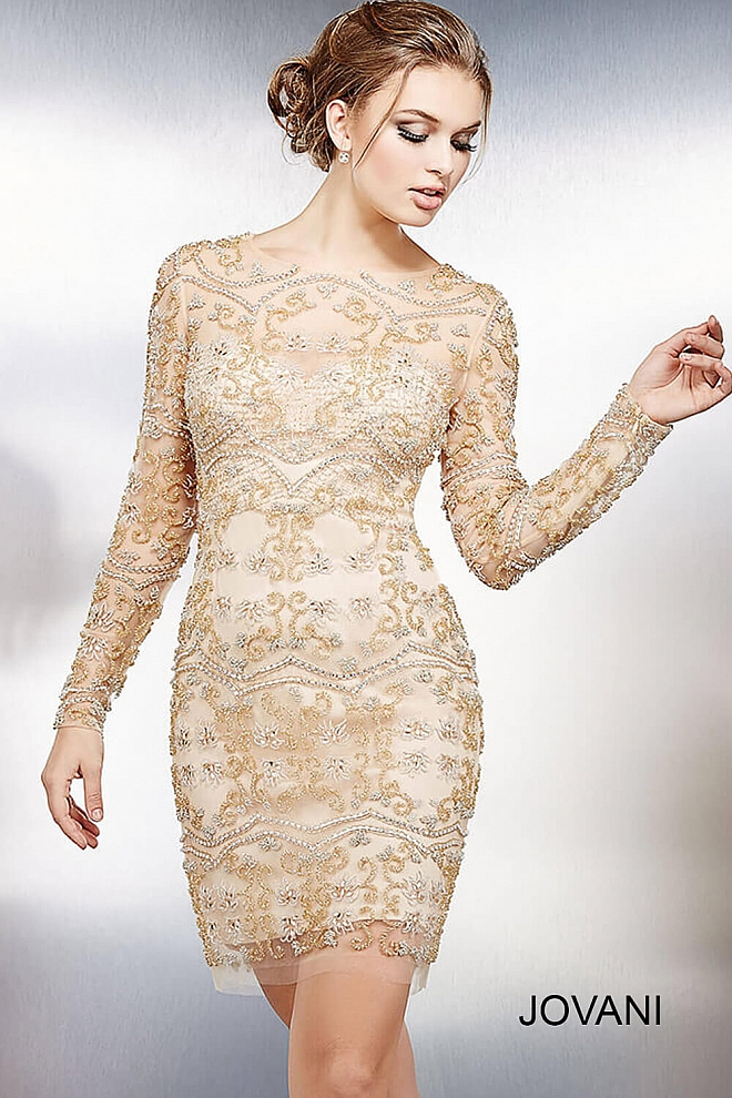 Gold Long Sleeve Fitted Short Dress 98052