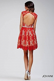Red Lace Fit and Flare Dress 99106
