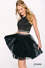 Black Tulle Two-Piece Short Cocktail Dress 39548