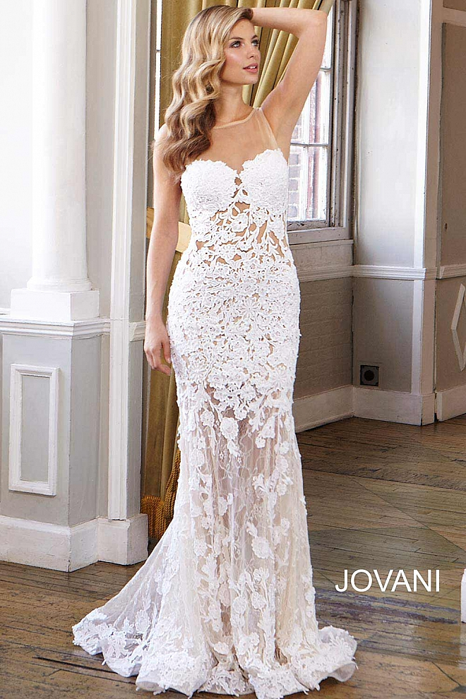 jovani Sheer Neckline Wedding Gown JB24877