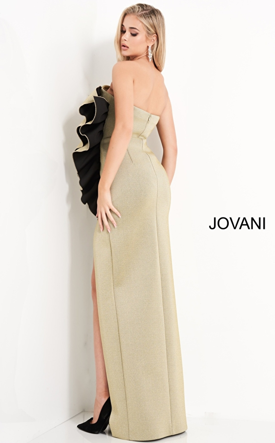 Jovani 00414 Gold Strapless Ruffle Evening Gown