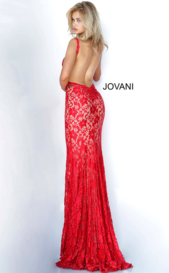 red lace low back prom dress 00782