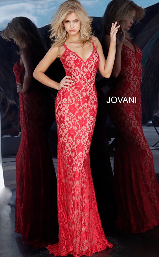 sleeveless red lace fitted dress 00782