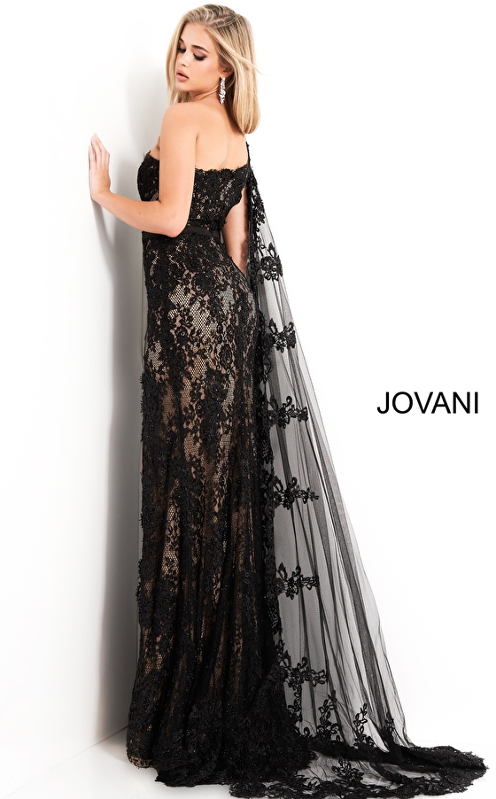 Jovani 00866 One Shoulder Lace Dress