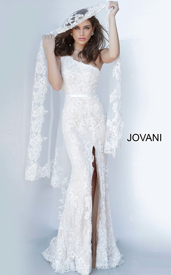 jovani Jovani 00866 One Shoulder Lace Dress