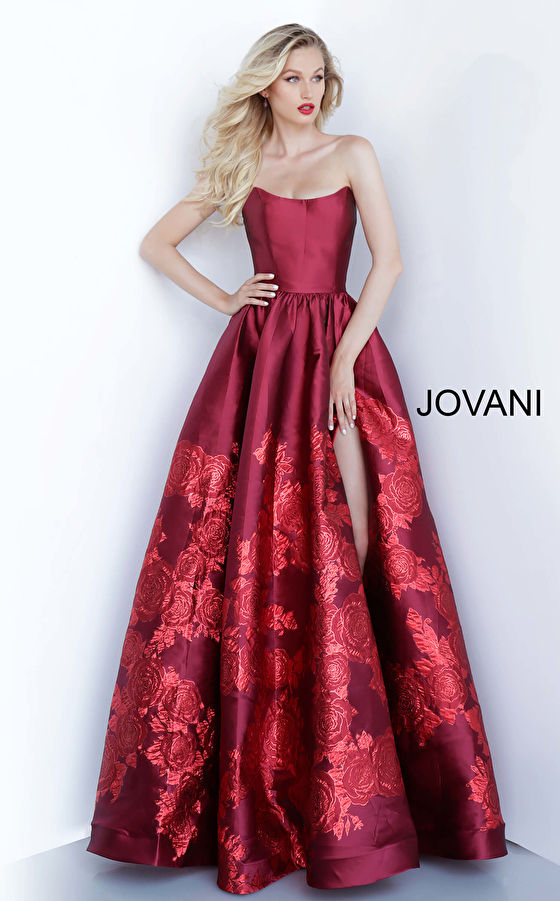 Red long floral Jovani ballgown 02038