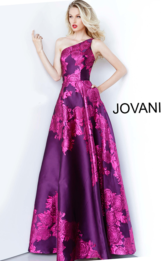 Purple Floral Print One Shoulder Prom Gown 02045