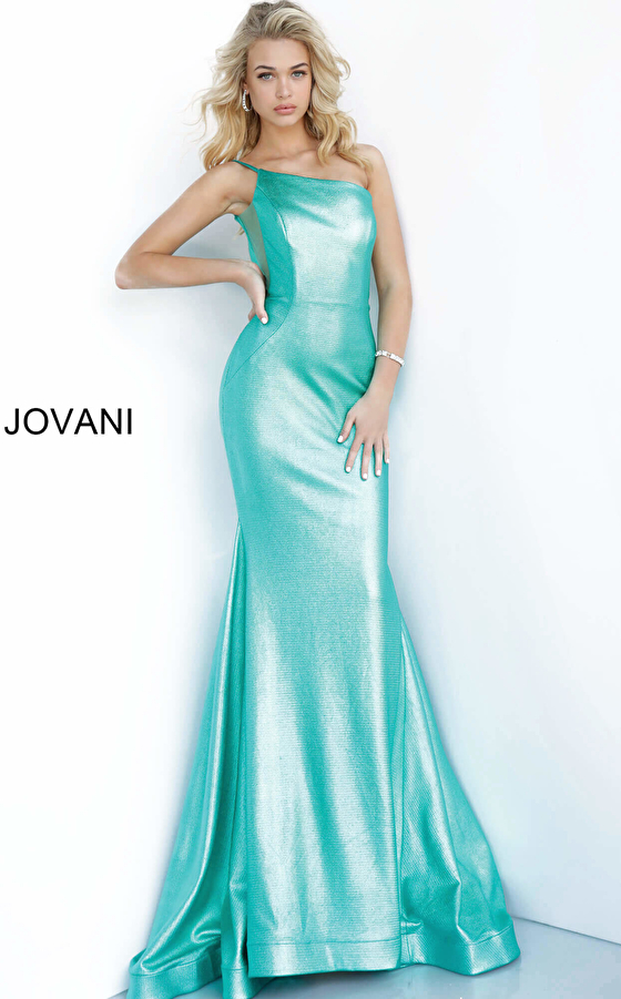Jovani 02136 Metallic Fitted One Shoulder Prom Dress