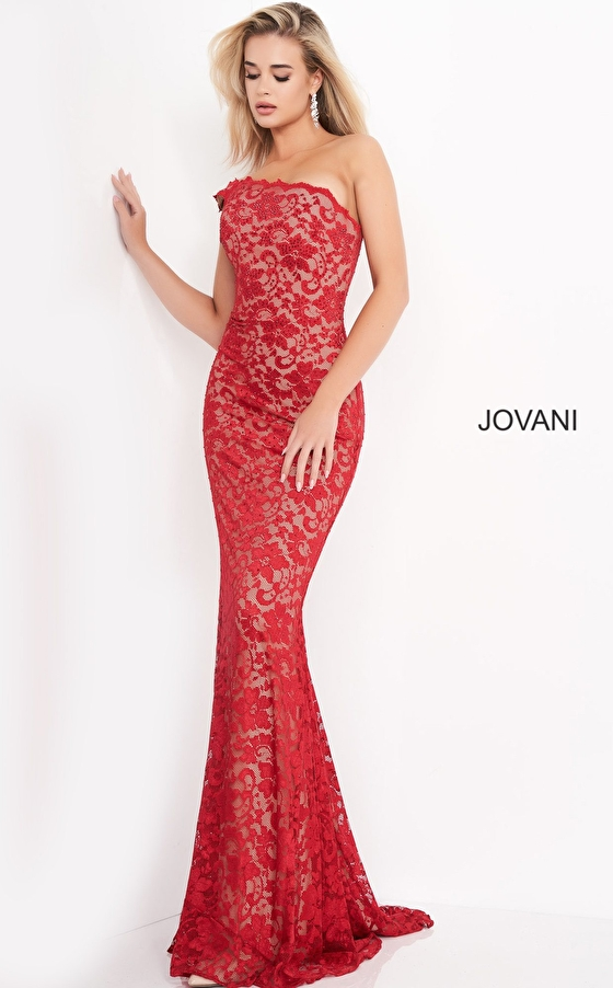 Jovani 02169 Red Lace One Shoulder Fitted Prom Dress