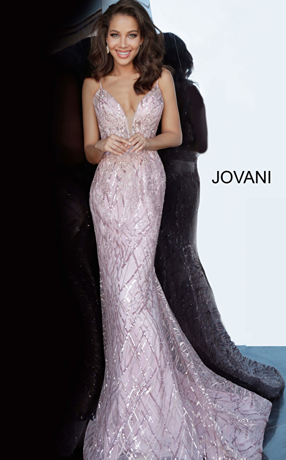 Pink Beaded Jovani Dress 02245