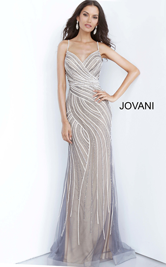 Grey Nude Embellished Spaghetti Strap Prom Dress 02408