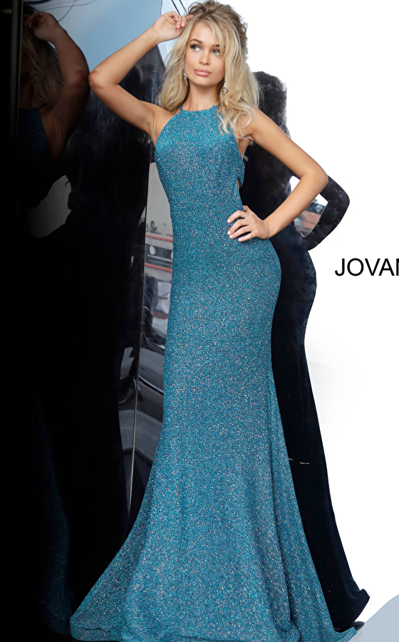 Teal Side Cut Outs Prom Dress 02467